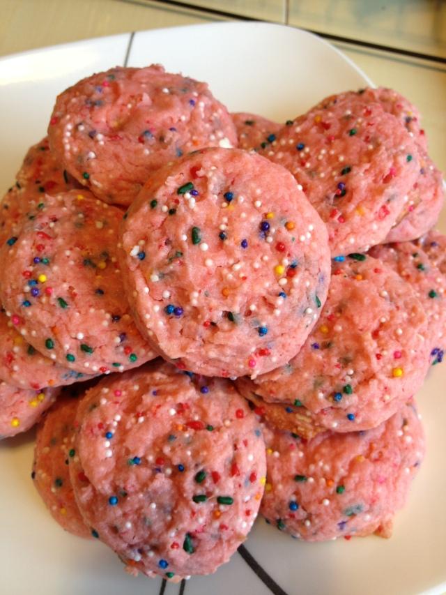 Strawberry Confetti Cookies