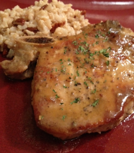 Cider-Glazed Pork Chops with Brown Butter Pecan Rice